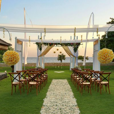 romantic garden with ocean view for wedding